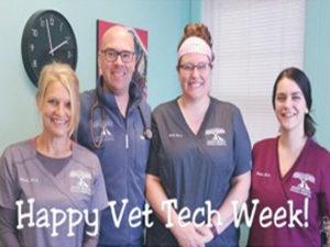 staff members at Shaker Heights Animal Hospital posing during Vet Tech Week